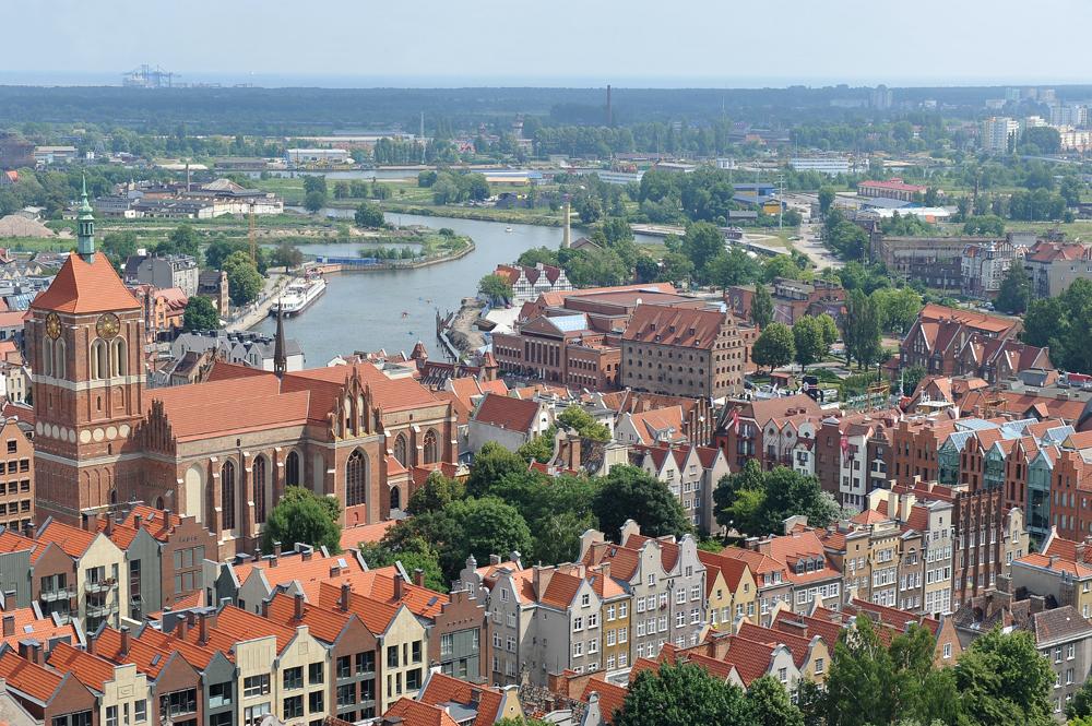Gdańsk, Danzica, Polonia 2013. Veduta sulla città dalla torre della chiesa di Santa Maria