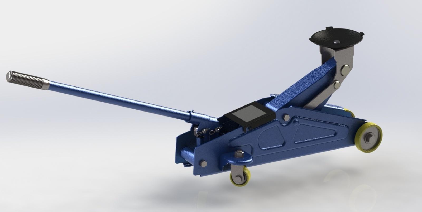 Cric-Idraulico - Modellazione 3d di un cric idraulico disegnato e poi renderizzato con SolidWorks.