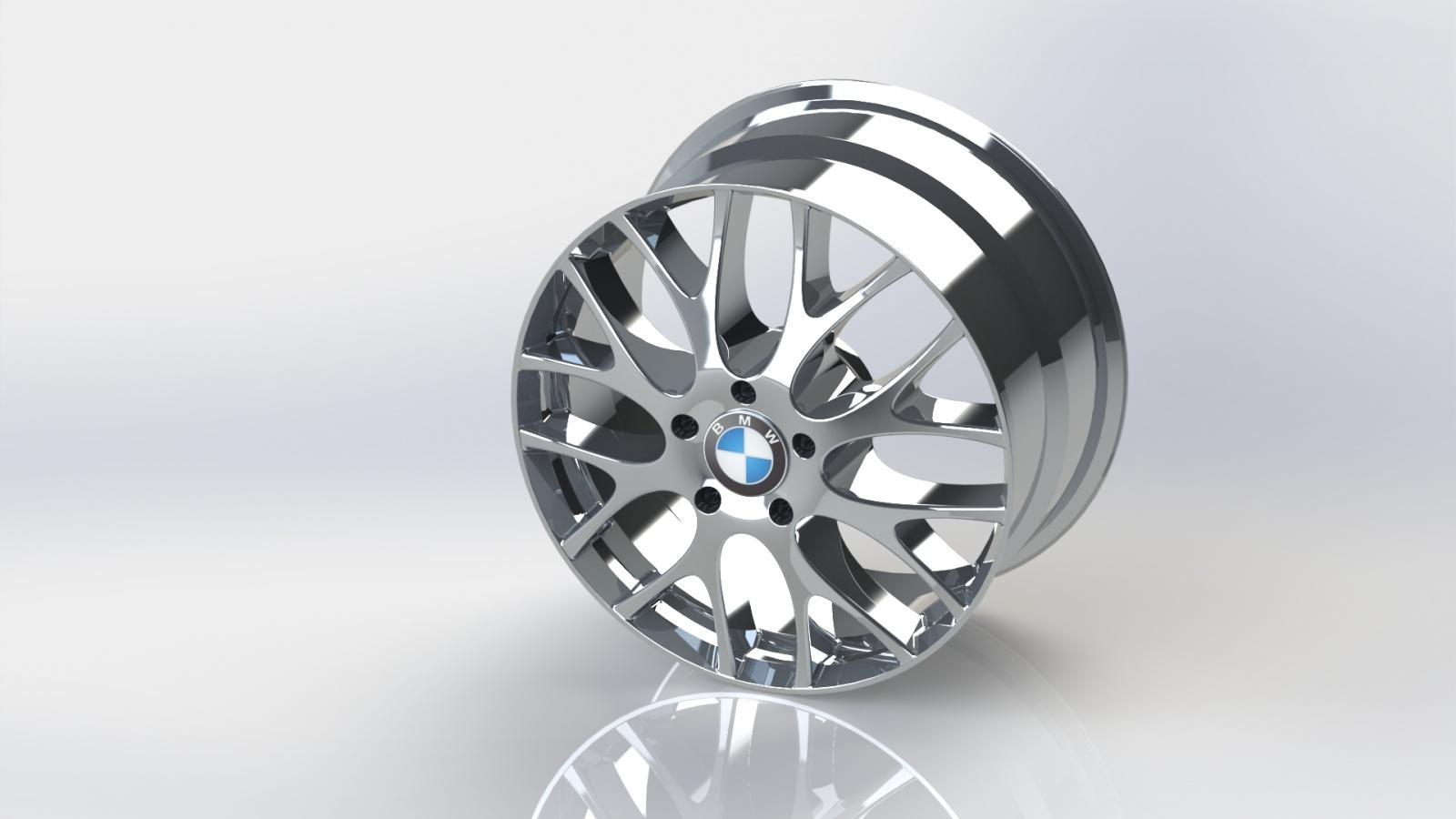Borchia-3d-BMW - Modellazione 3d e Rendering di una borchia BMW, disegnata con SolidWorks
