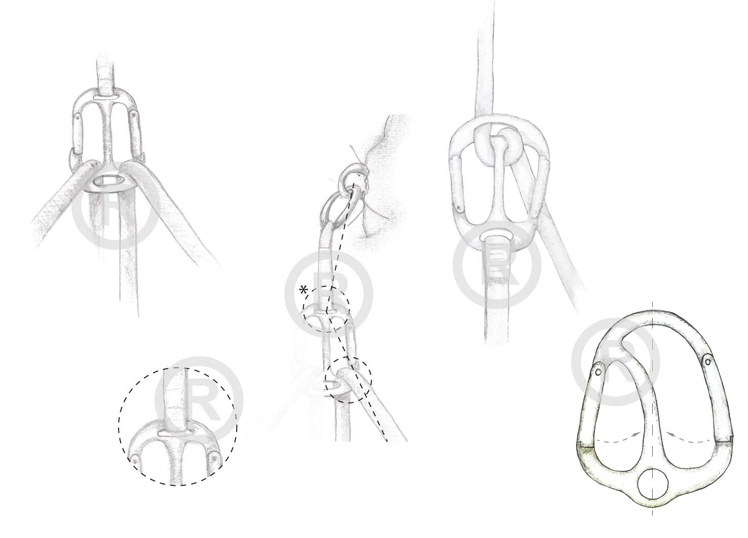Schizzi - Una volta analizzati i vari dispositivi, sono andato ad ipotizzare una forma che mi permettesse di unificare in un unico elemento più dispositivi, in modo da ridurre l'equipaggiamento che lo scalatore è costretto a portarsi dietro e che svolgesse diversi compiti.