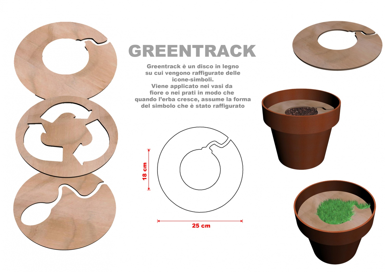 Funzionamento - Greentrack è un disco in legno su cui vengono raffigurate delle icone-simboli. Viene applicato nei vasi da fiore o nei prati in modo che quando l'erba cresce, assume la forma del simbolo che è stato raffigurato